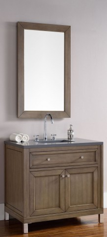 "Chicago 36"" White Washed Walnut Single Vanity With 3Cm Shadow Gray Quartz Top"