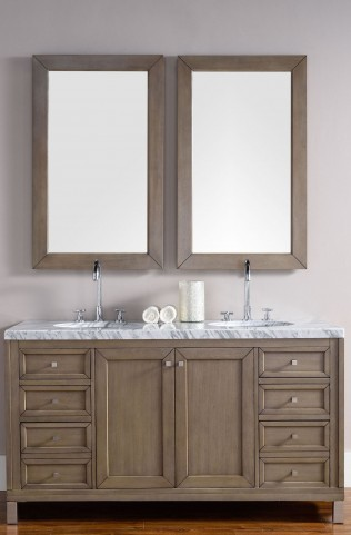"Chicago 60"" White Washed Walnut Single 4Cm Top Vanity"