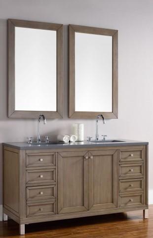 "Chicago 60"" White Washed Walnut Single Vanity With 3Cm Shadow Gray Quartz Top"