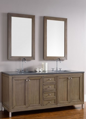 "Chicago 72"" White Washed Walnut Single Vanity With 3Cm Shadow Gray Quartz Top"