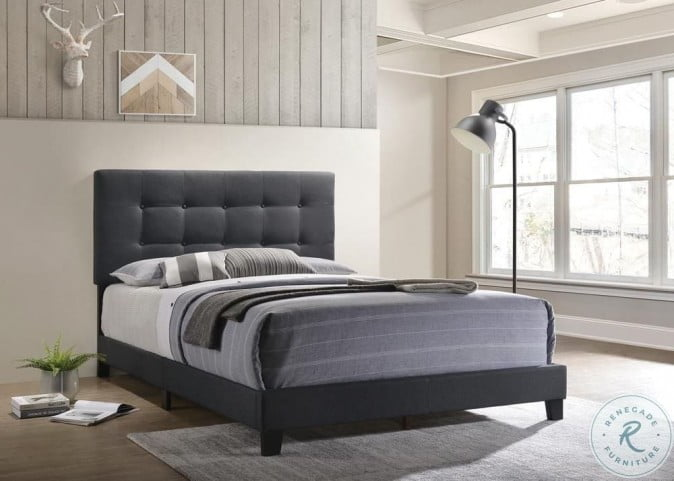 Mapes Charcoal Upholstered Full Panel Bed