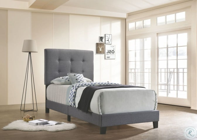 Mapes Gray Upholstered Twin Panel Bed
