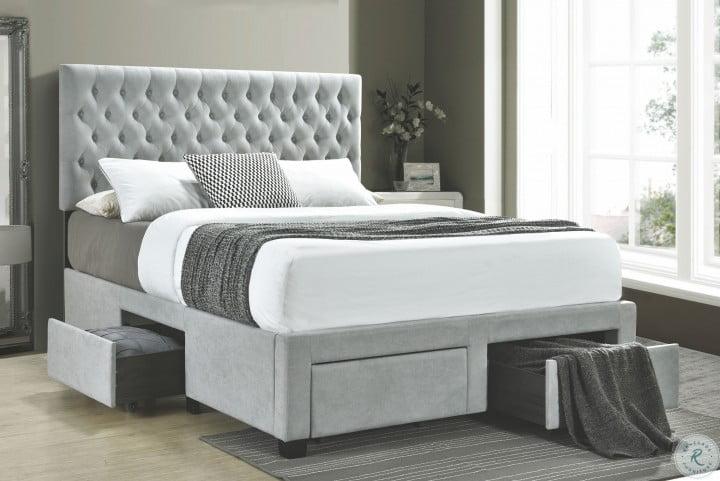 Soledad Light Gray Upholstered Full Storage Platform Bed