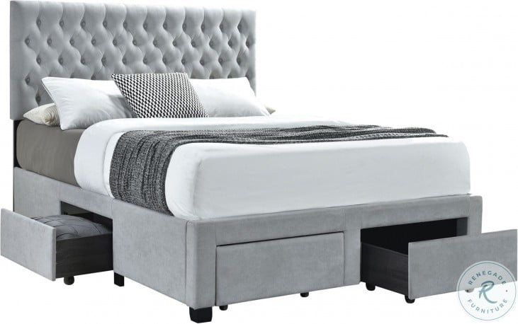 Soledad Light Gray Upholstered Queen Storage Platform Bed