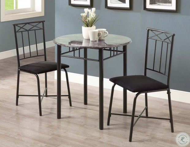 3065 Grey Marble and Charcoal Metal 3 Piece Bistro Set