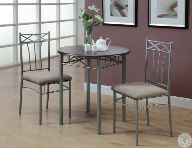 3075 Cappuccino and Silver Metal 3 Piece Bistro Set