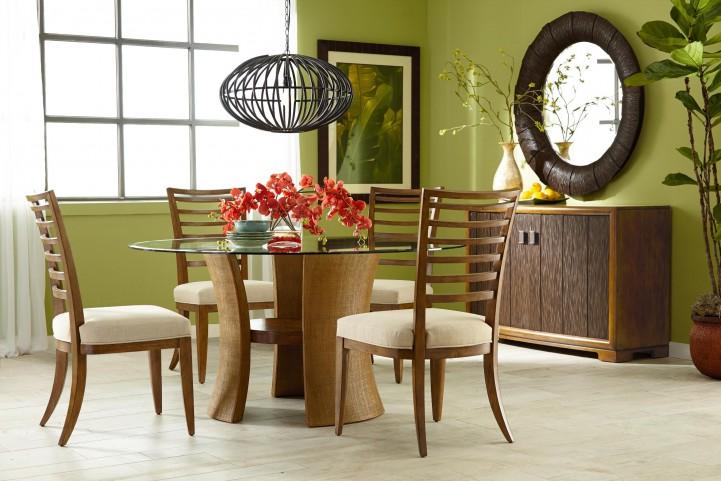 Grove Point Warm Khaki Round Pedestal Dining Room Set