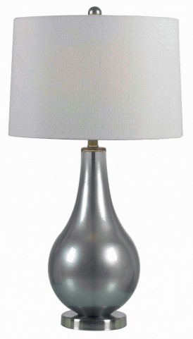Teardrop Metallic Pewter Table Lamp