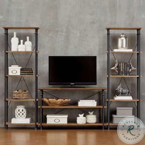 Factory Rustic Poplar and Black Bookcase