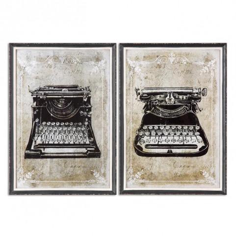 Classic Typewriters Vintage Art Set of 2