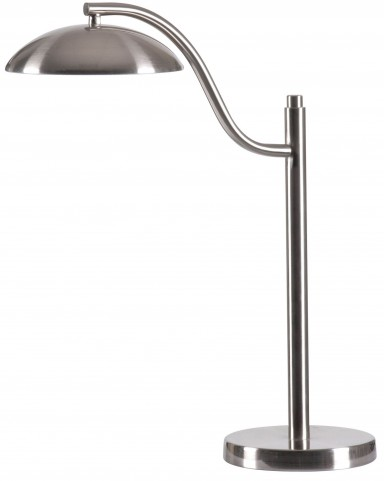 Crescent Brushed Steel Desk Lamp
