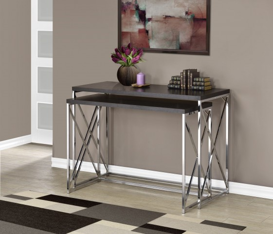 2 Piece Cappuccino Hollow-Core/Chrome Metal Console Tables