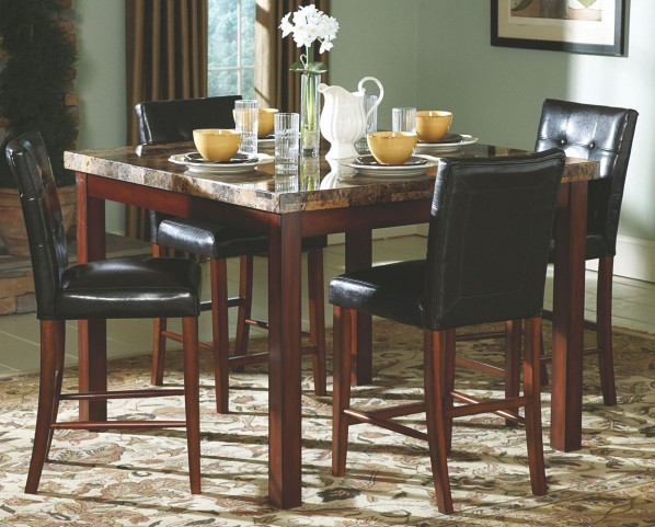 Achillea Faux Marble Counter Height Dining Room Set