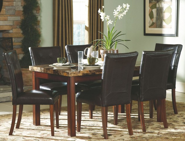 Achillea Faux Marble Rectangular Dining Room Set