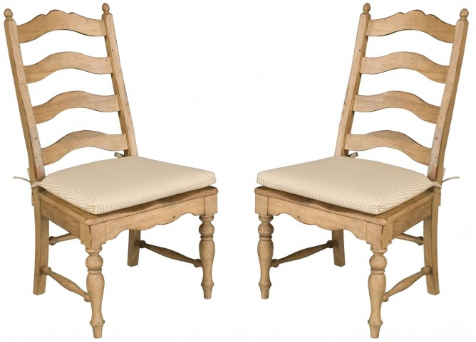 Homecoming Vintage Pine Ladderback Side Chair Set of 2