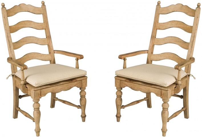 Homecoming Vintage Pine Ladderback Arm Chair Set of 2