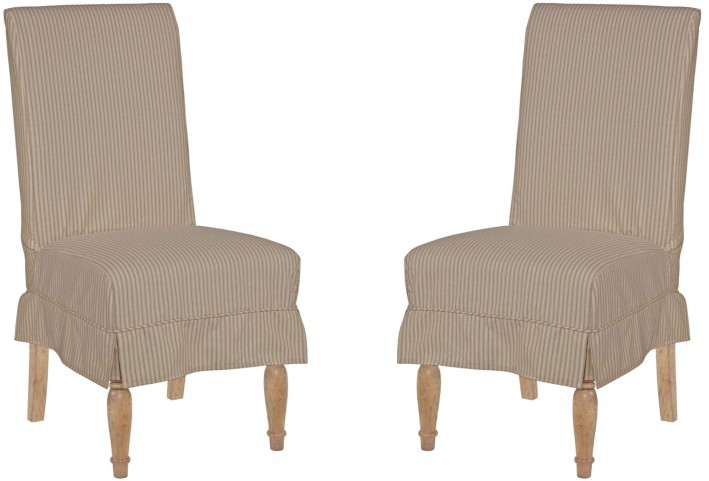 Homecoming Vintage Pine Slip Cover Chair Set of 2