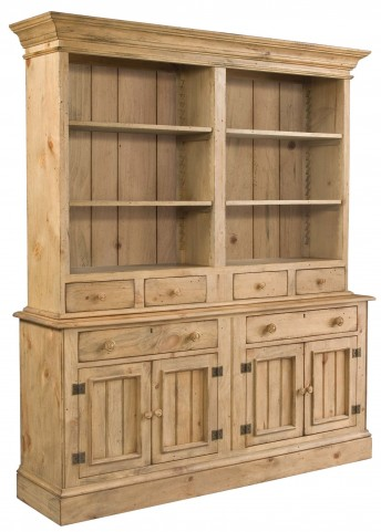 Homecoming Vintage Pine Open Buffet with Hutch