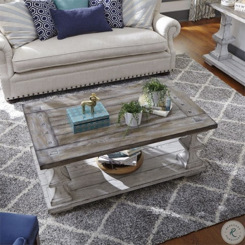 Sedona Heavy Distressed White Cocktail Table From Liberty Coleman Furniture