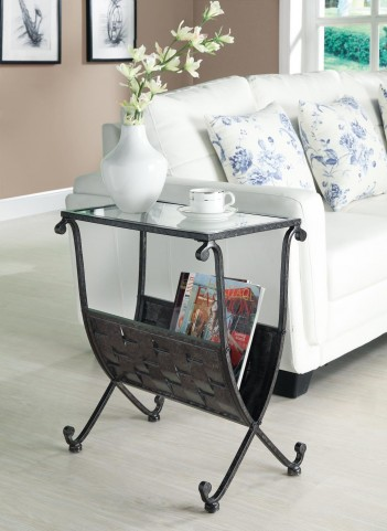 3313 Black / Taupe Mix Metal Magazine Table