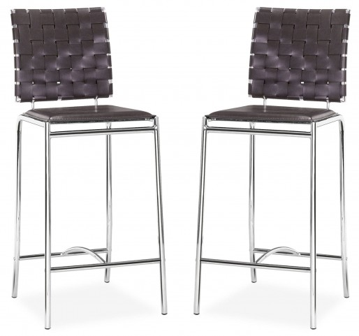 Criss Cross Counter Chair Espresso Set of 2