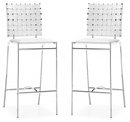 Criss Cross Counter Chair White Set of 2