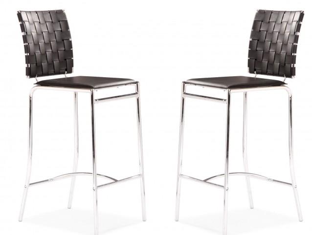Criss Cross Counter Chair Black Set of 2