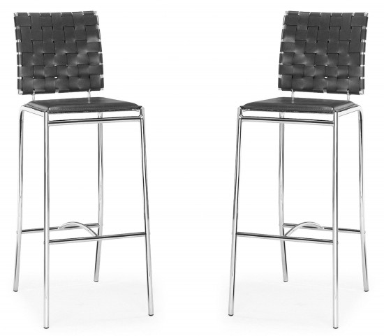 Criss Cross Bar Chair Espresso Set of 2