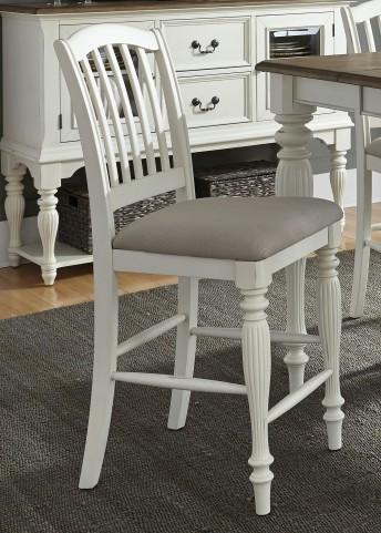 Cumberland Creek Nutmeg and White Slat Back Counter Chair Set of 2