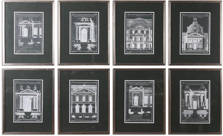 Architecturals Vintage Art Set of 8