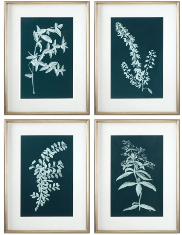 Pale Stems Of Spring Floral Art Set of 4