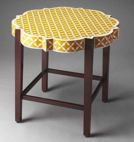 Anastasia Yellow Bone Inlay Accent Table