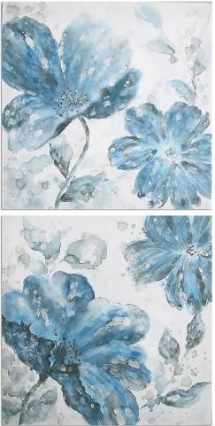 Blue Tone Flowers Set of 2