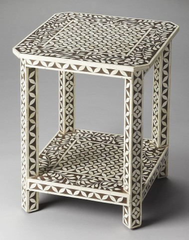 Brown Bone Inlay Side Table