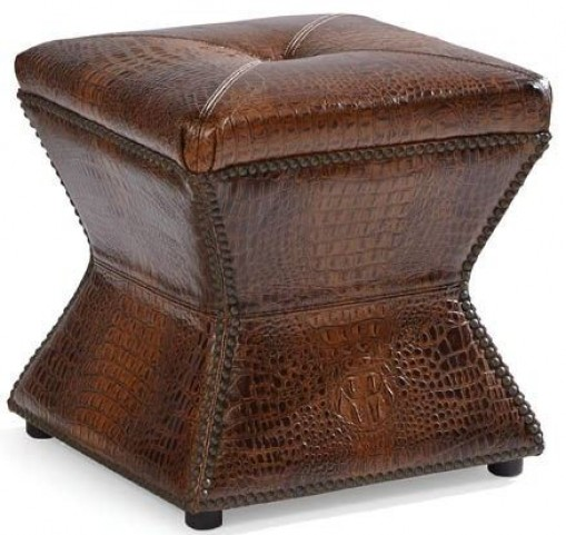 Ridgeway Gator Tail Chocolate Leather Ottoman