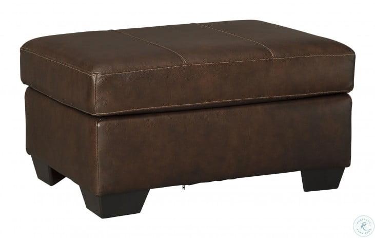 Morelos Chocolate Leather Ottoman