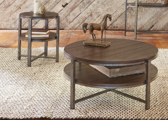 Breckinridge Mahogany Spice with Pewter Metal Occasional Table Set