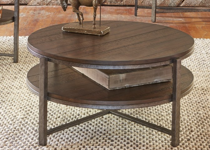 Breckinridge Mahogany Spice with Pewter Metal Round Cocktail Table