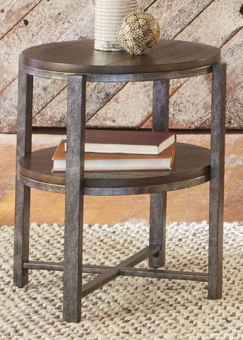 Breckinridge Mahogany Spice with Pewter Metal Round End Table