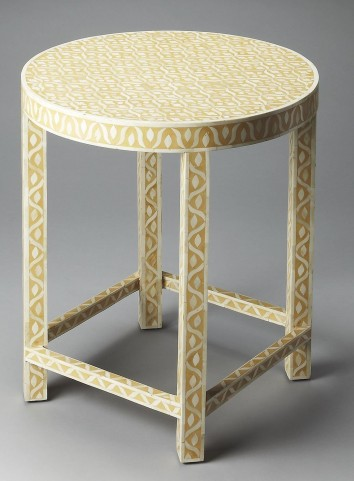 Yellow Bone Inlay Accent Table