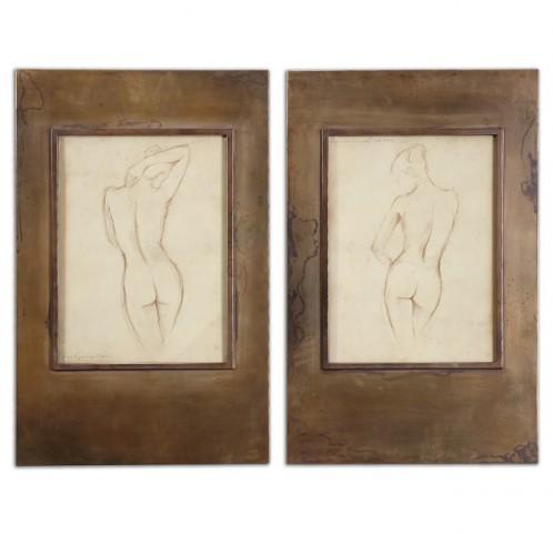 Bronze Figures Art Set of 2