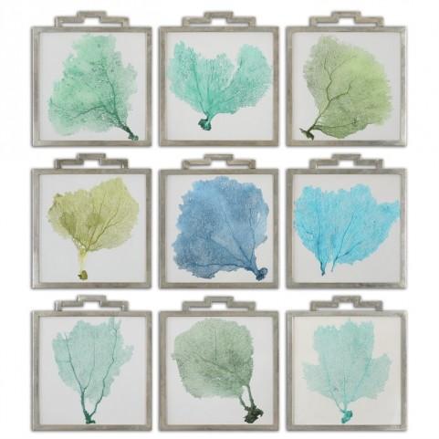 Sea Fans Framed Art Set of 9