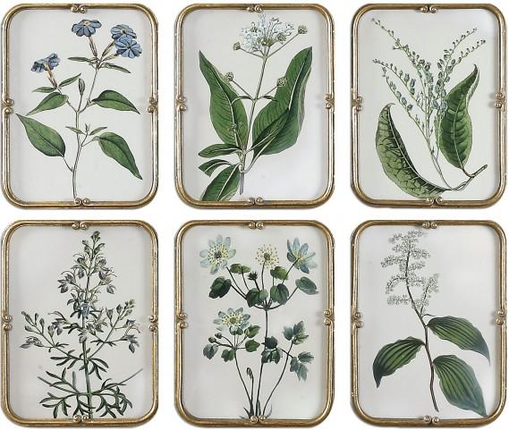 Blue Floral Art Collection Set of 6