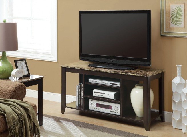 """3525 Cappuccino / Marble Top 48"""" TV Console"""