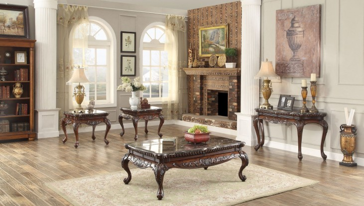 Mariacarla Dark Cherry Marble Top Occasional Table Set