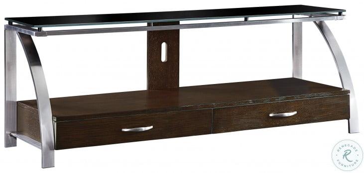 Tioga Espresso And Brushed Chrome Metal TV Stand