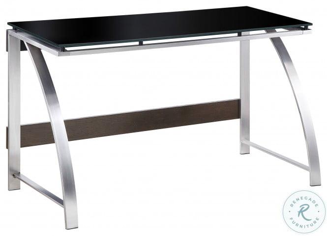 Tioga Espresso And Brushed Chrome Metal Writing Desk