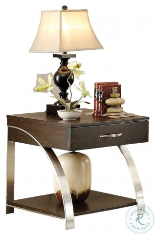 Tioga Espresso And Brushed Chrome Metal End Table