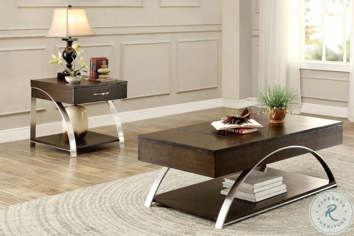 Tioga Espresso And Brushed Chrome Metal Lift Top Occasional Table Set