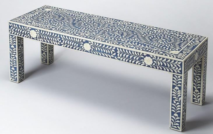 Bone Inlay Blue Bench